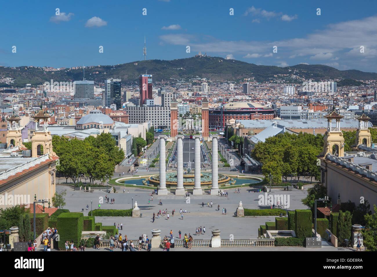 Spain,Catalonia,Barcelona City,Montjuich Hill,Venetian towers,Espana square - Stock Image