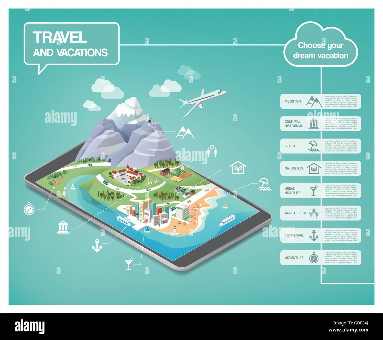 Dream vacations infographics, travel destinations typens on a tridimensional landscape including mountains, seaside, - Stock Vector