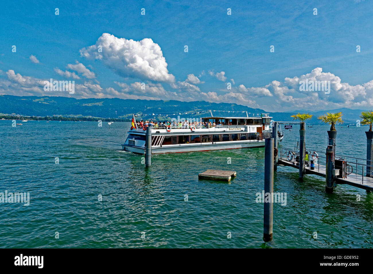 Lake Constance,Bodensee,pier,ship,round trip Stock Photo