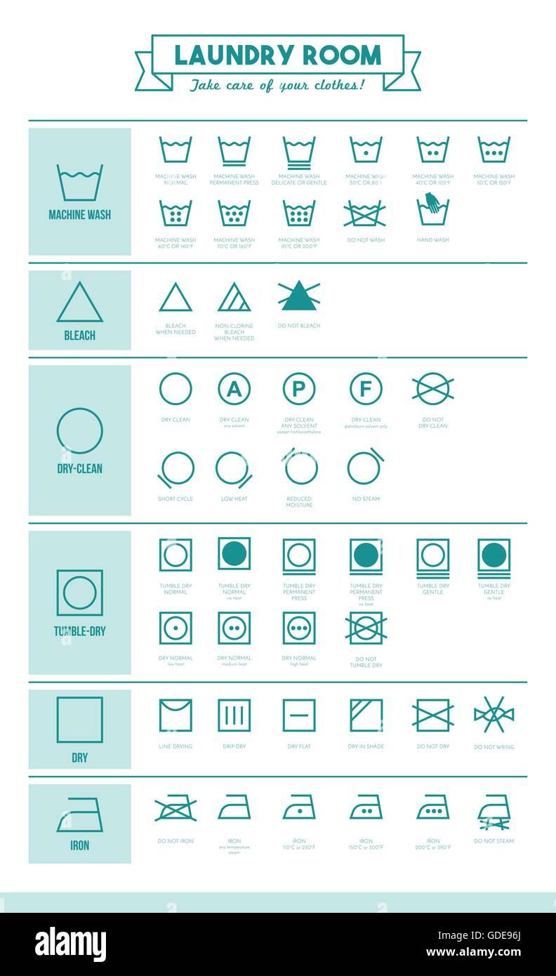 Symbol Washing Care Instructions Stock Photos Symbol Washing Care