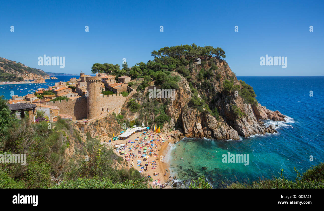 Spain,Catalonia,Costa Brava,Tossa de Mar City, - Stock Image