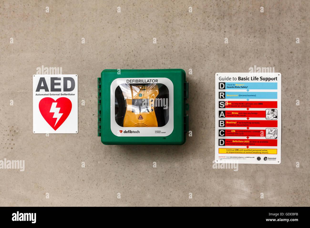 First Aid defiblirater, Brisbane airport railway station, Queensland, Australia - Stock Image
