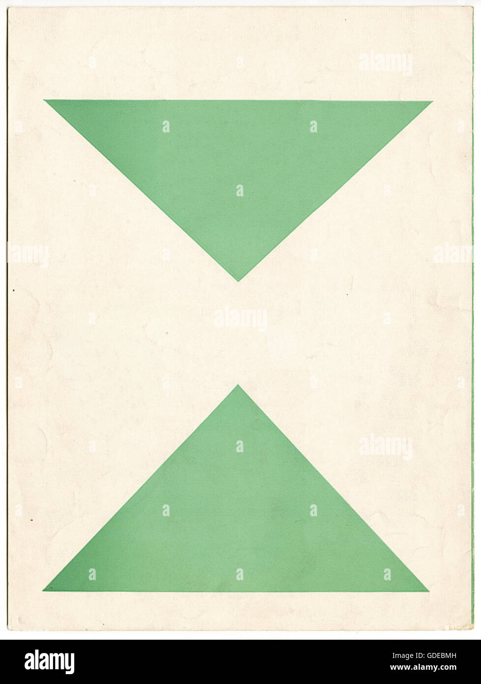 Vintage paper with printed green triangles - Stock Image