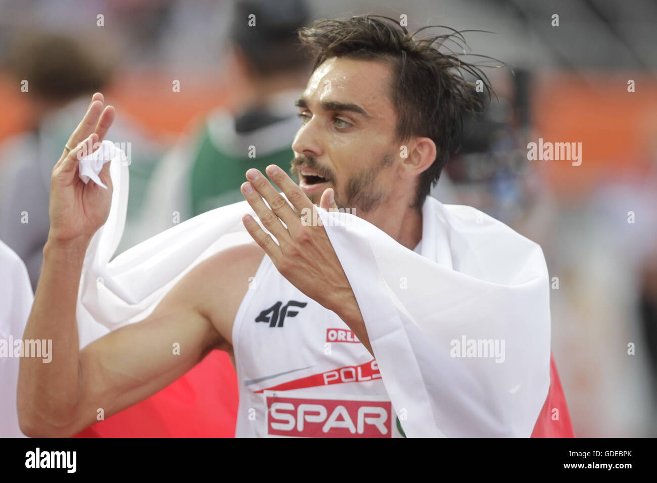 Amsterdam, Netherlands July 10, 2016 Adam Kszczot europe champion in the 800m in Amsterdam - Stock Image