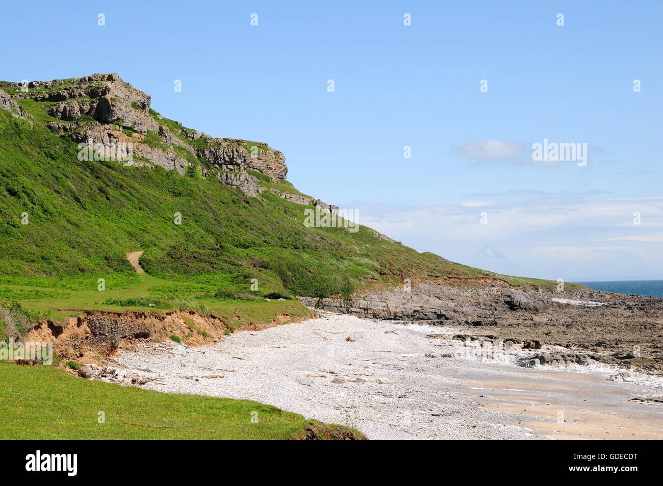 Coastal walk between Oxwich and Port Eynon gower peninsula Wales - Stock Image