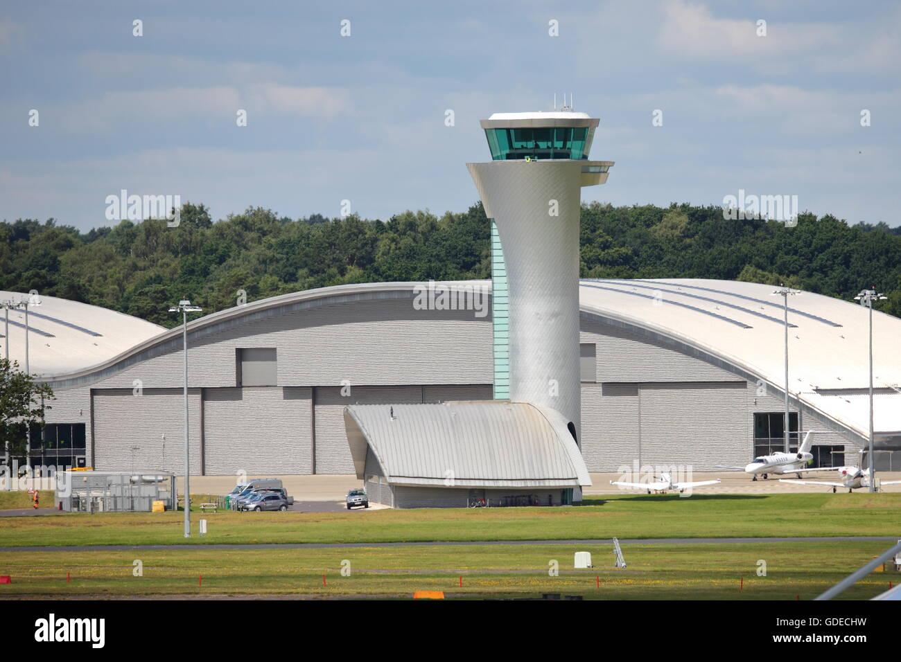 Air traffic control tower at Farnborough airport - Stock Image