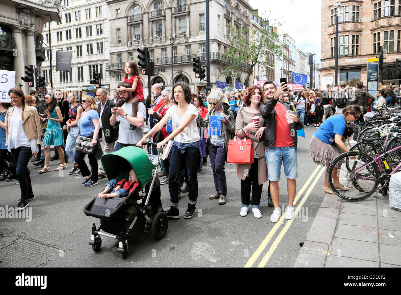 'March for Europe'  Remain voters in EU Referendum protest demo to Parliament Square In London UK 23 June - Stock Image