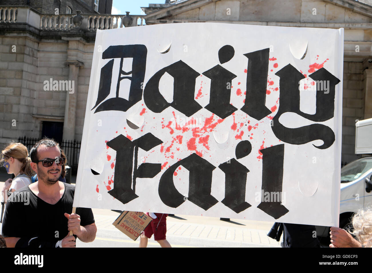'March for Europe'  Remain voters  hold a satirical  'Daily Fail'  sign at demo Whitehall London - Stock Image