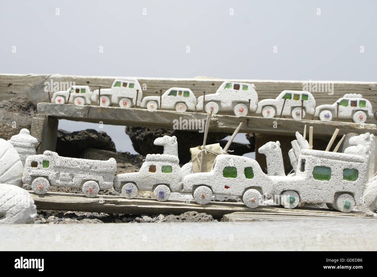 Traffic congestion of Local Handicrafted Pumice Stone toys, Djibouti, Horn of Africa - Stock Image