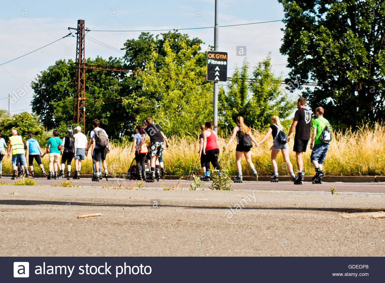 group of people skating - Stock Image
