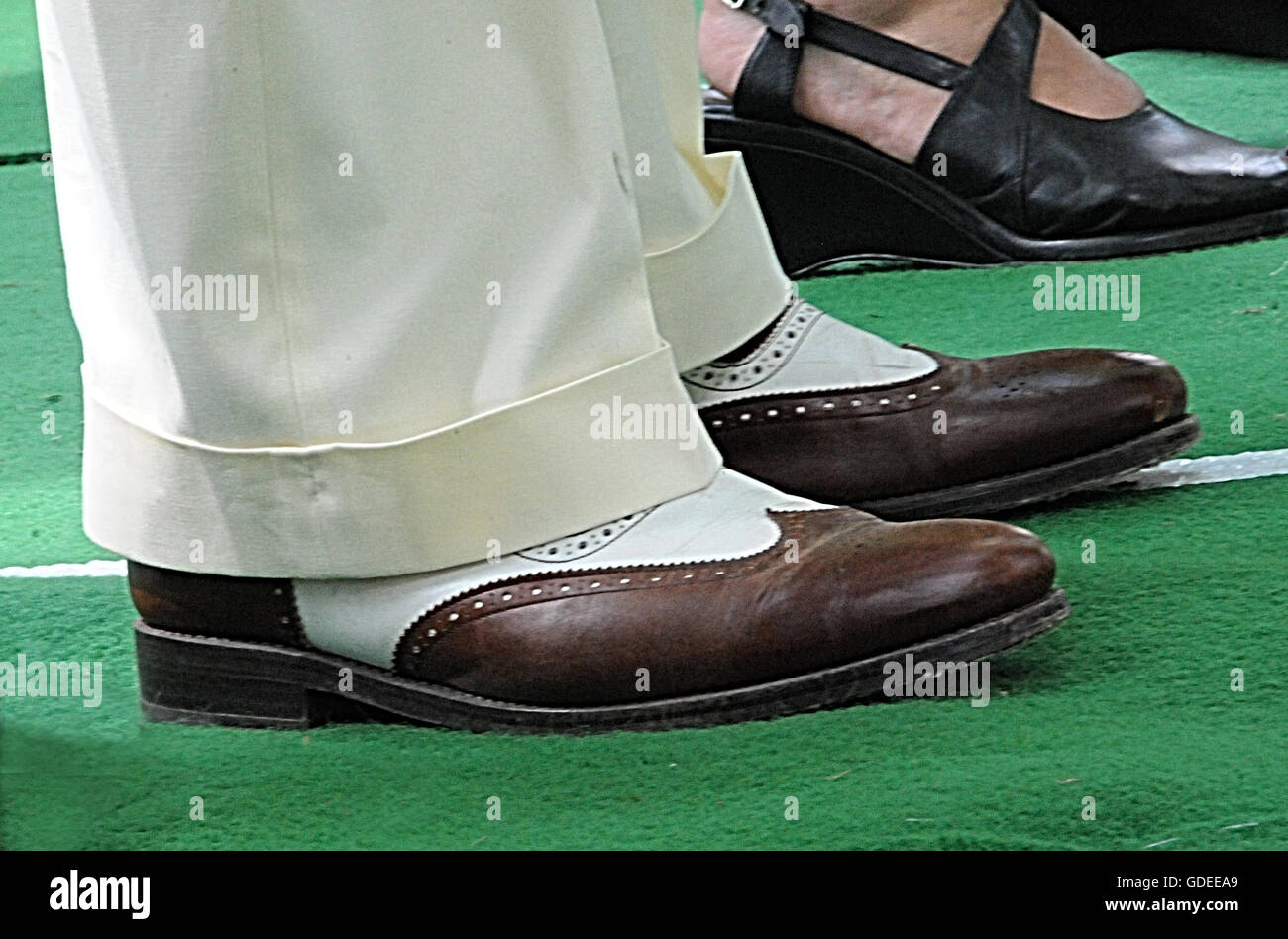 Two tone brogues and Oxford bags, on display at the Chap Olympiad, Bedford Square, London. - Stock Image