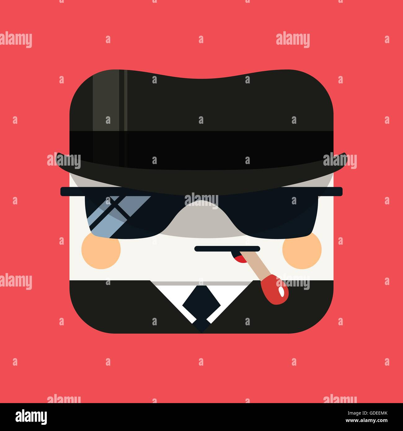 Spy avatar illustration. Trendy emissary squared icon with shadows in flat style. - Stock Vector