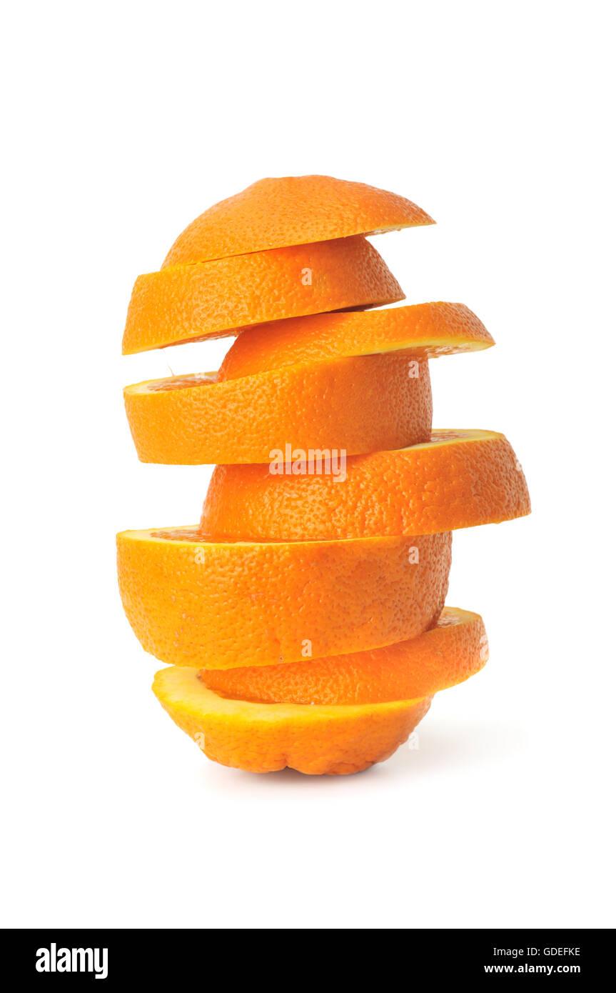 cut orange isolated on a white - Stock Image
