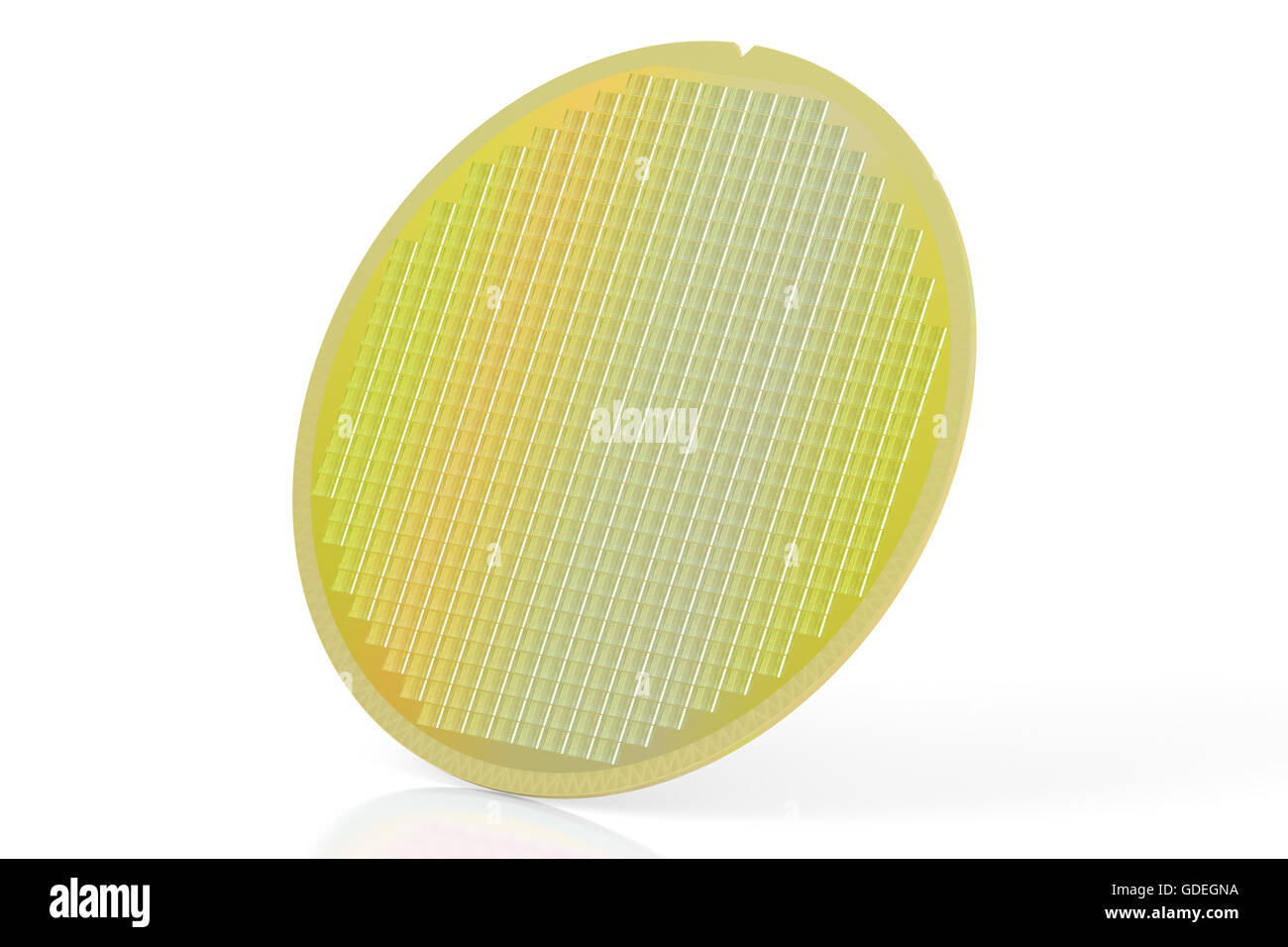 Silicon wafer with processor cores, 3D rendering isolated on white background - Stock Image