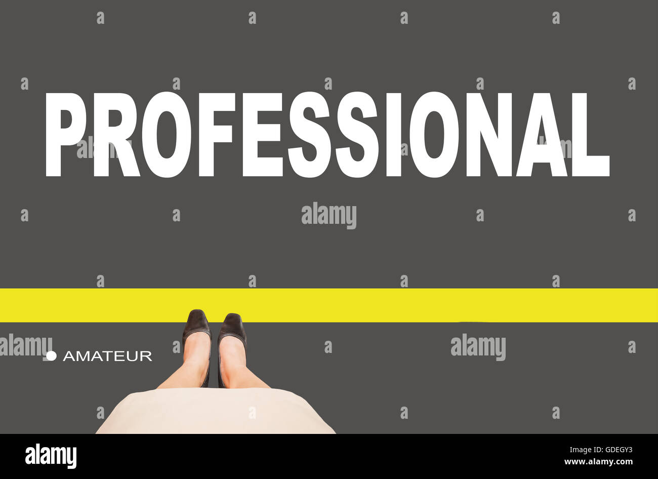 Business women leg standing on line with text amateur and professional on ground, concept of business or work progression - Stock Image