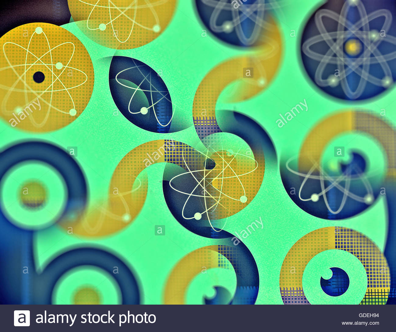 Atomic energy target retro mid century nuclear atom illustration - Stock Image