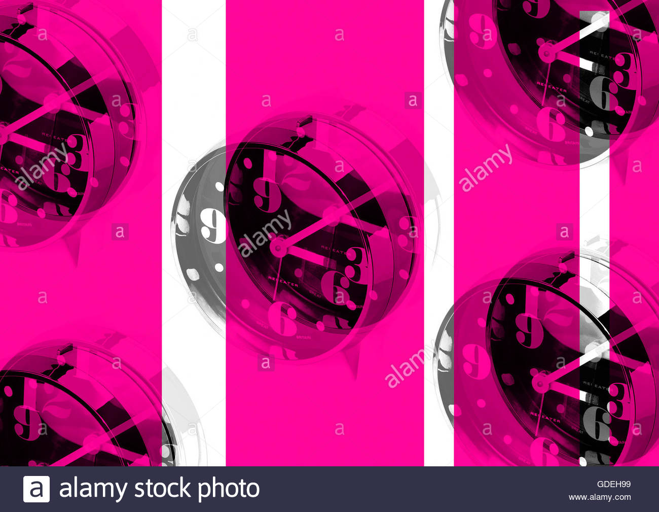 Vintage retro sixties boogaloo clock alarm repeat London look - Stock Image