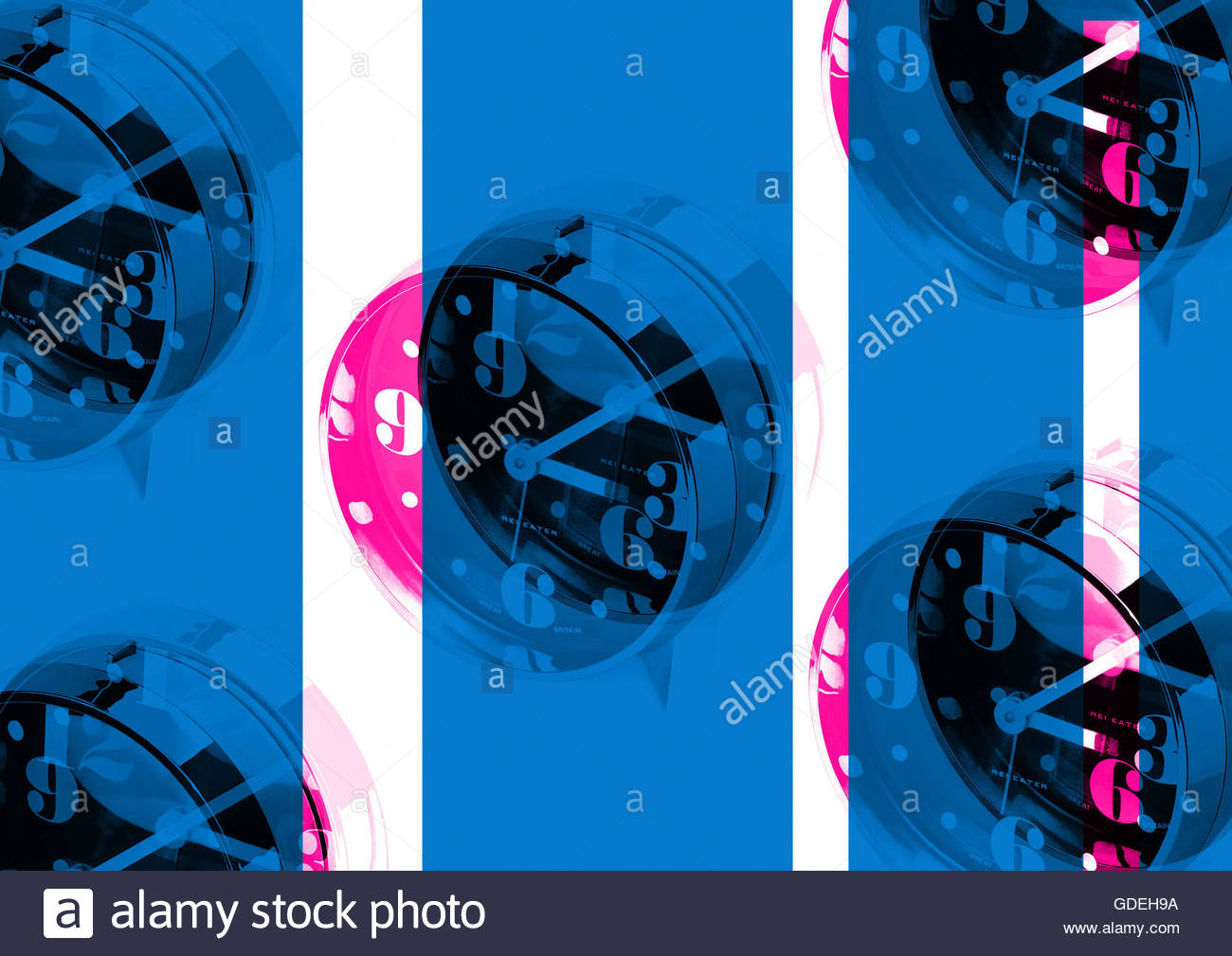 Vintage retro sixties boogaloo clock alarm repeat London look Stock Photo