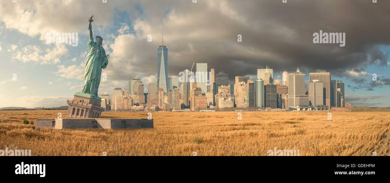 Post apocalyptic view of Manhattan after the Upper New York Bay has dried up, America, USA - Stock Image