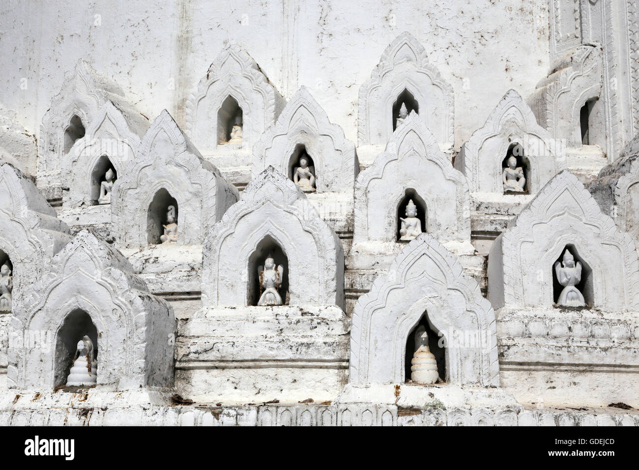 Architectural feature of Hsinbyume Pagoda, Mingun, Myanmar - Stock Image