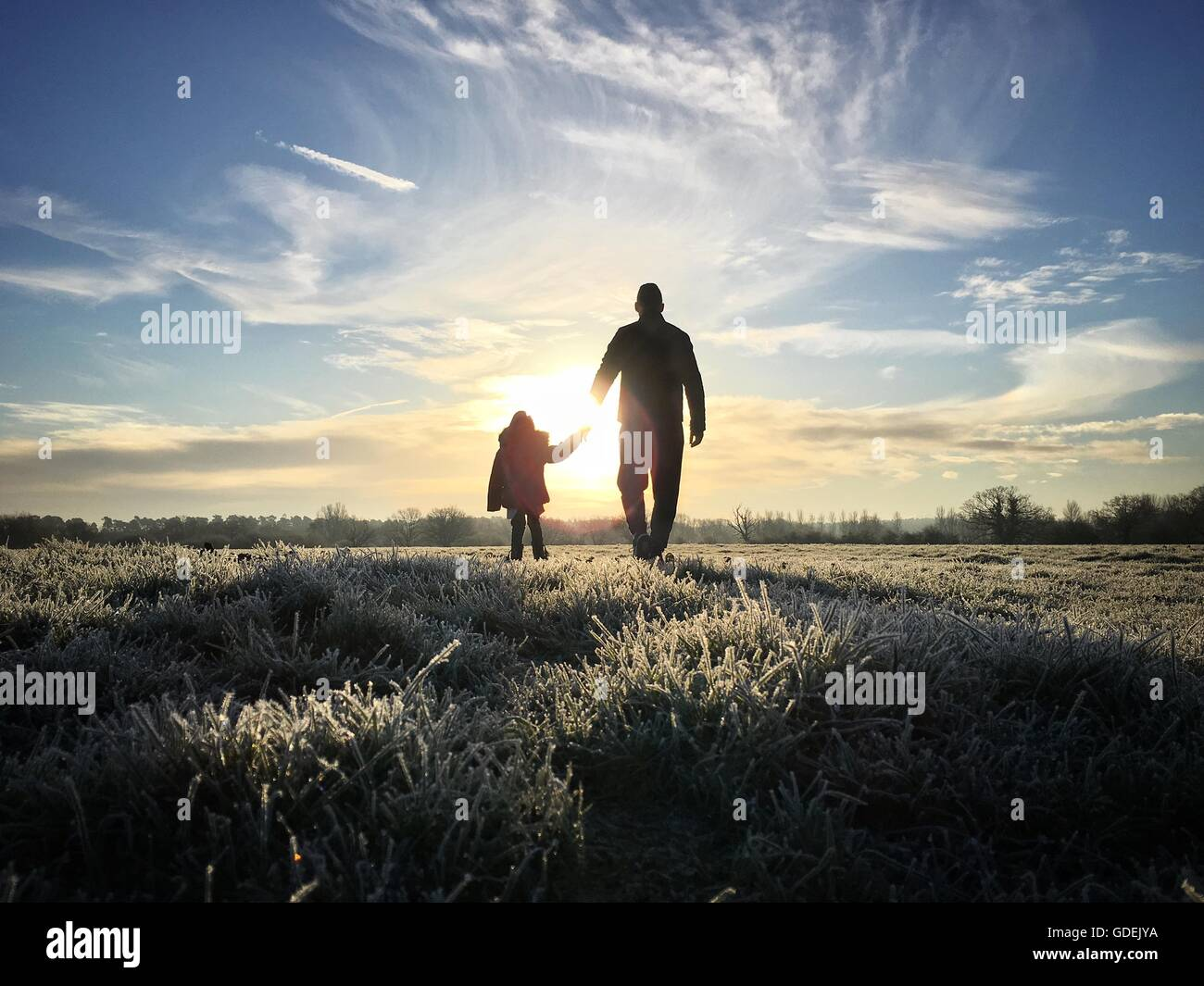 Silhouette of father holding daughter's hand - Stock Image