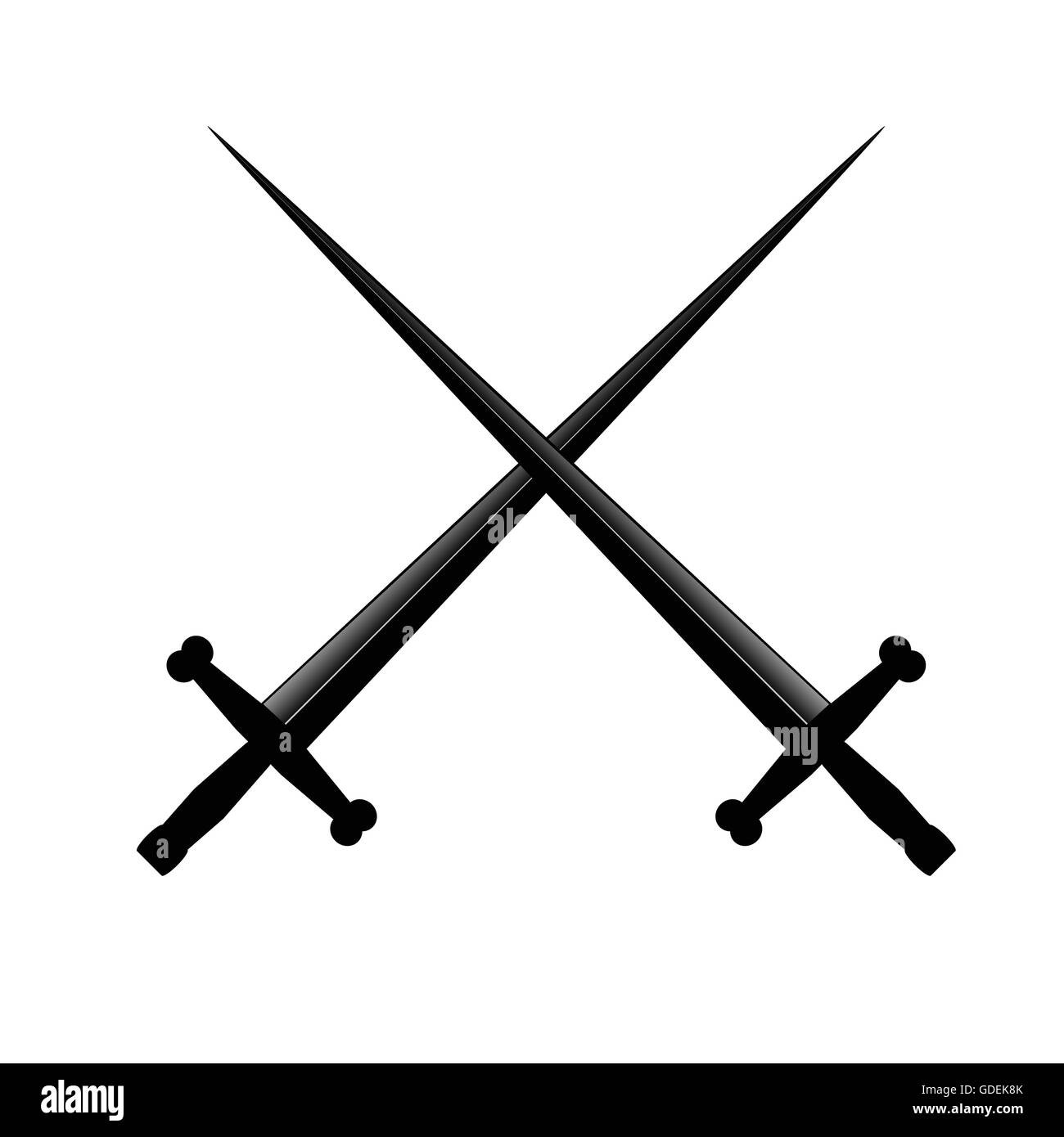 sword two art vector illustration on white background - Stock Image