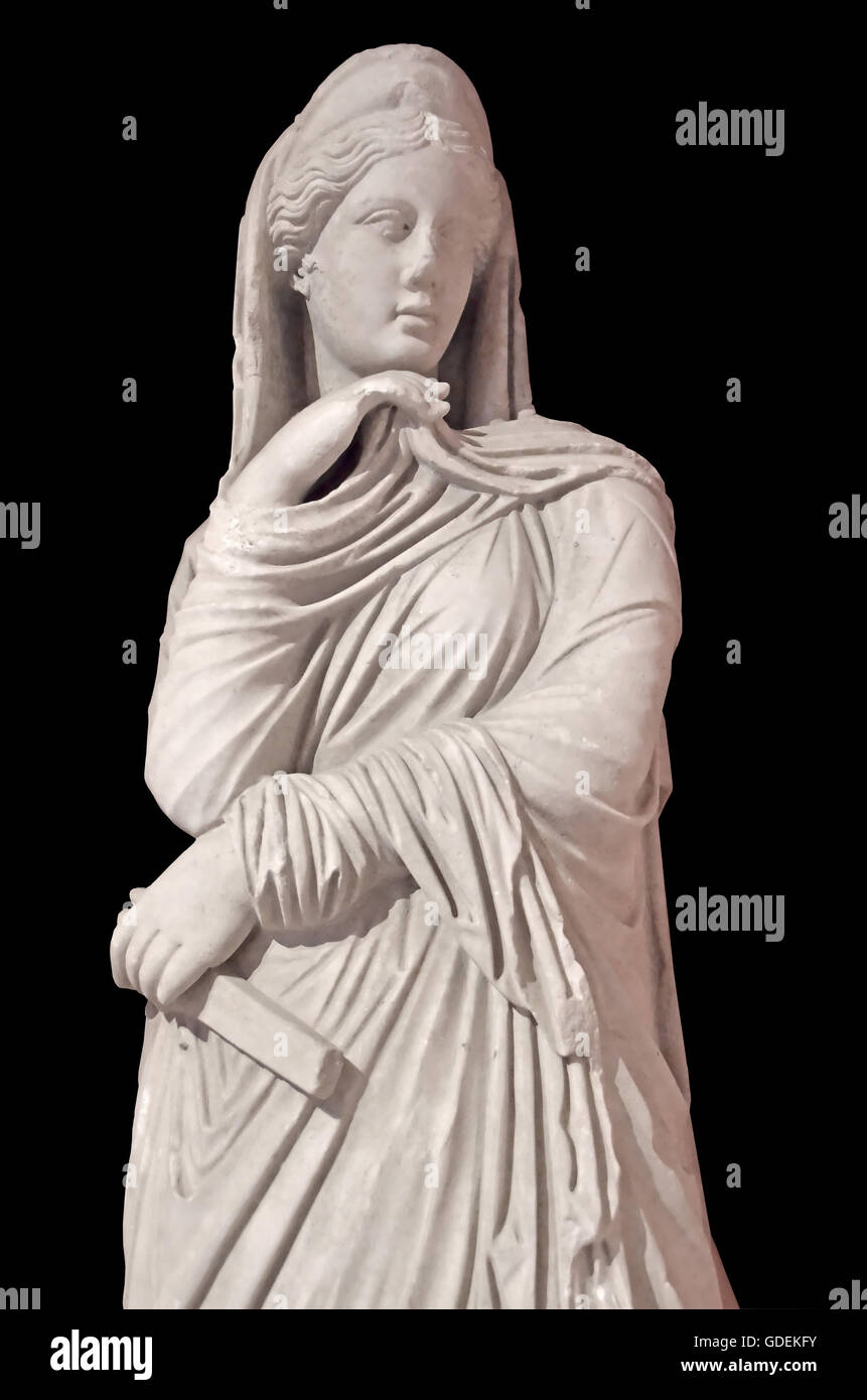 Ancient greek sculpture of the goddess Nemesis. The goddess of divine retribution,and implaccable justice,and scourge - Stock Image