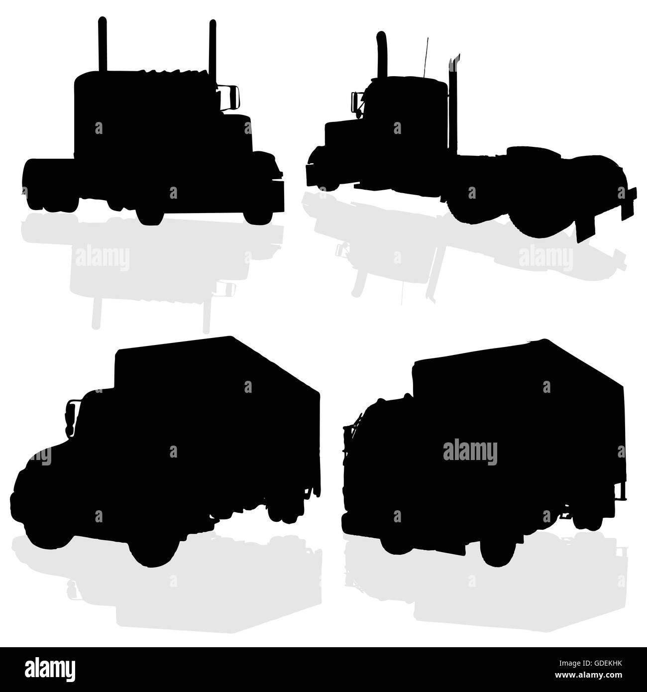 truck black silhouette art of vector illustration on white - Stock Vector