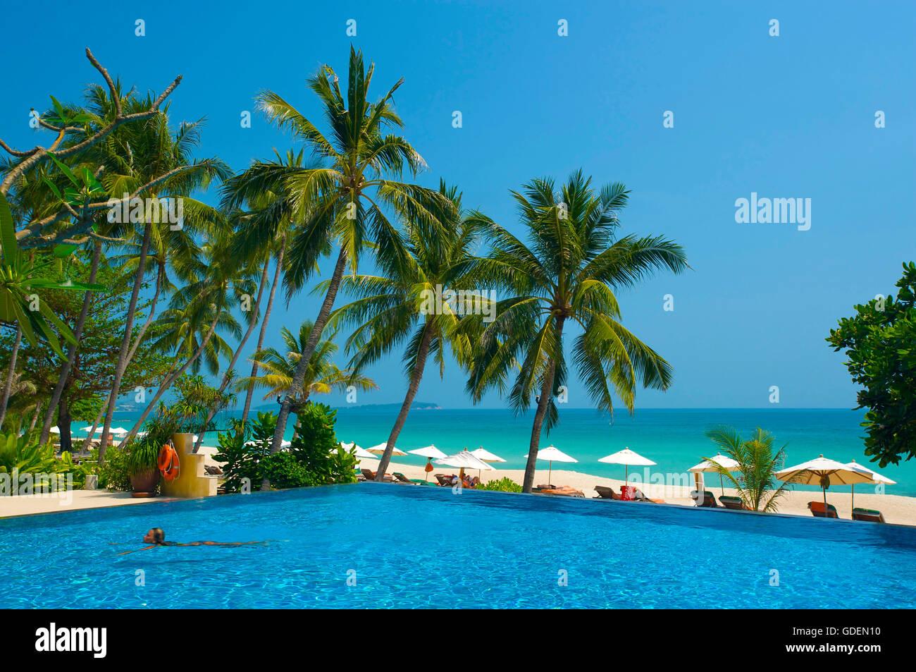 Hotel at Chaweng Beach, Ko Samui Island, Thailand - Stock Image