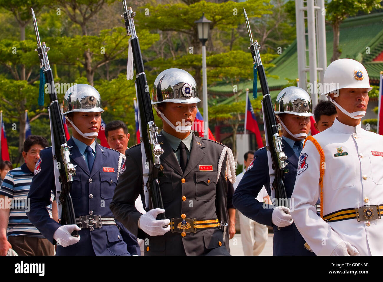 Change of the guard, memorial monument, Taipeh, Taiwan - Stock Image