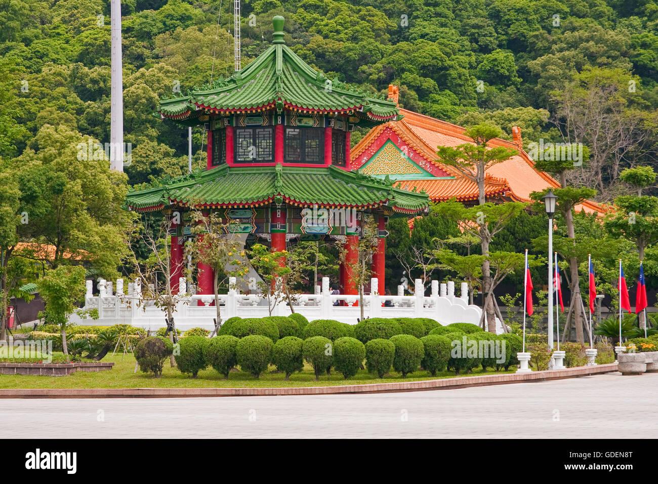 Pagoda at memorial monument, Taipeh, Taiwan - Stock Image