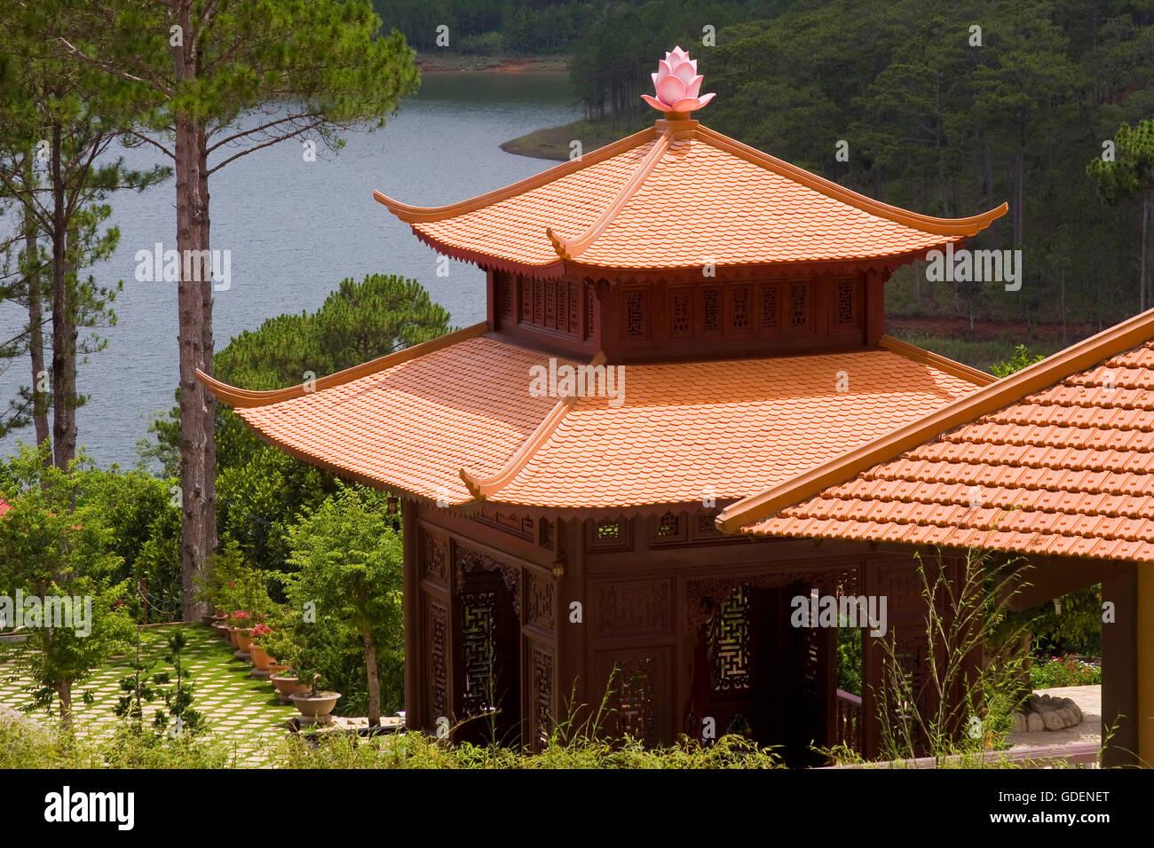 Truc lam pagoda, Dalat, Vietnam - Stock Image