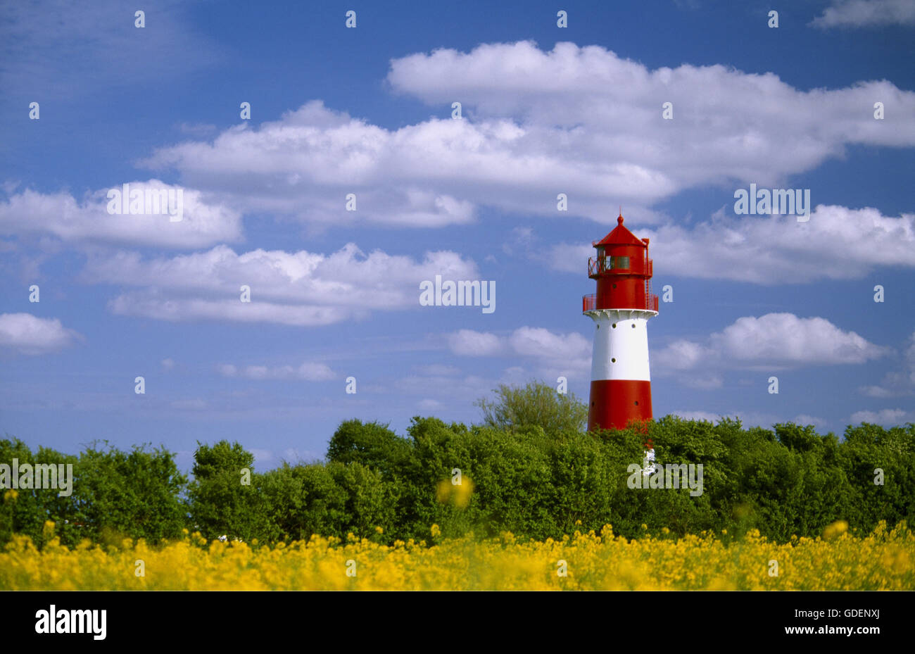 Lighthouse at Pommerby, Angeln, Schleswig-Holstein, Germany - Stock Image
