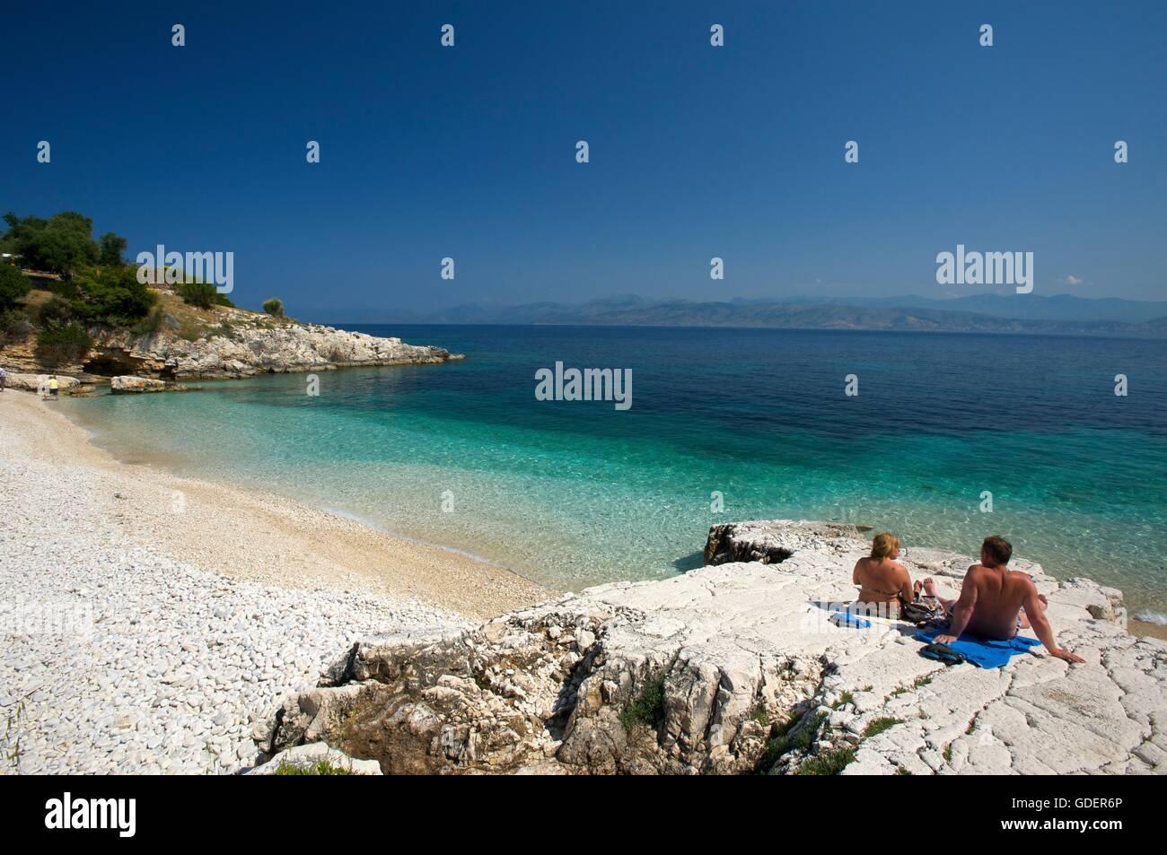 Kassiopi Beach, Corfu, Ionian Islands, Greece - Stock Image