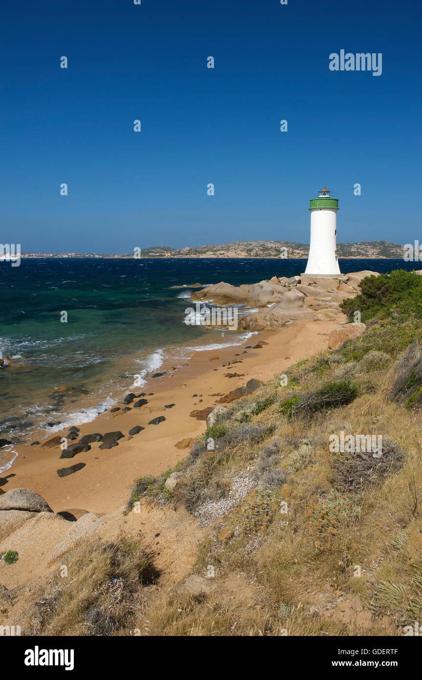 Lighthouse, Porto Faro at Capo d´Orso, Sardinia, Italy - Stock Image