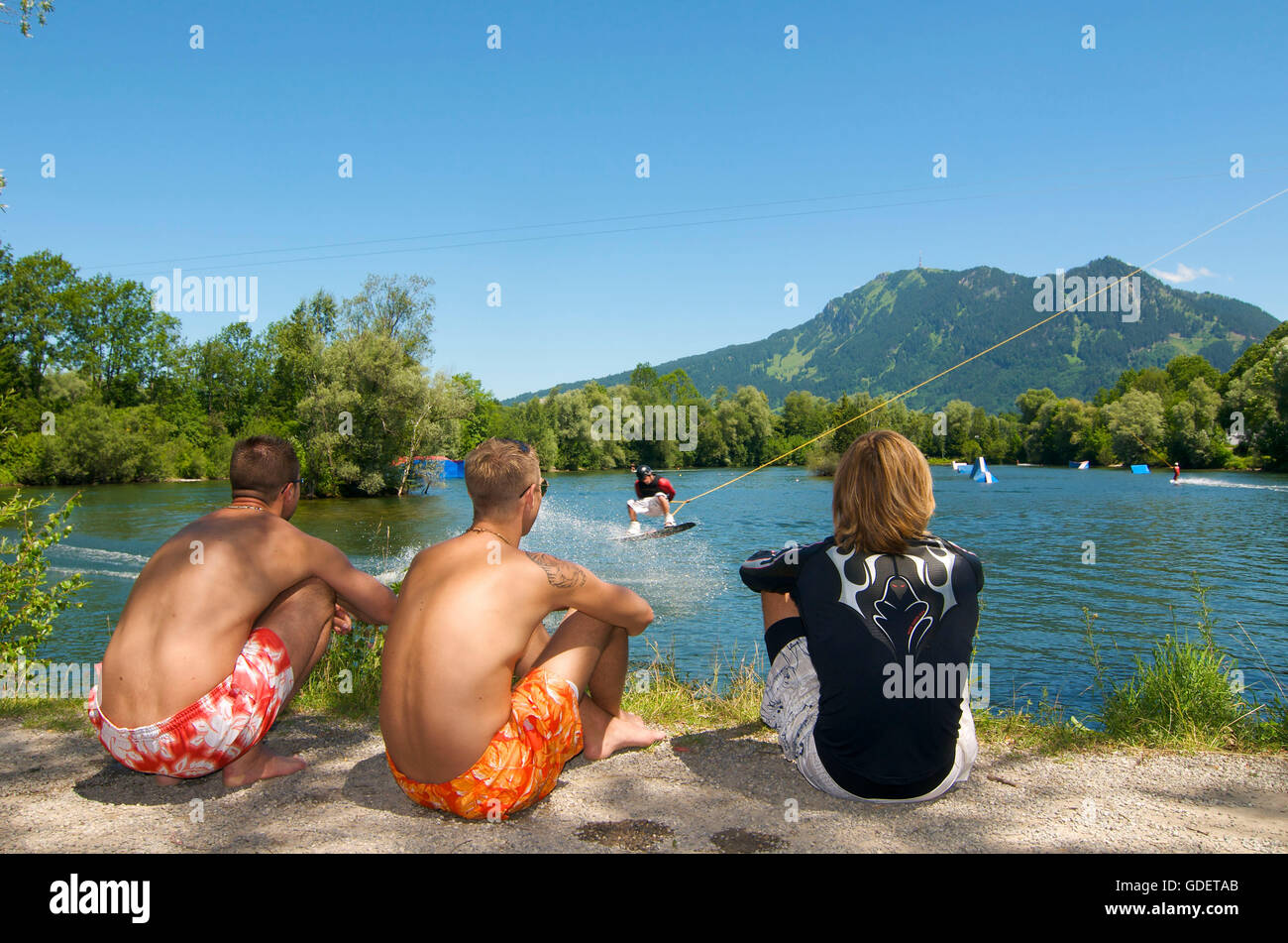 Wakeboarding in Immenstadt, Allgaeu, Bavaria, Germany - Stock Image