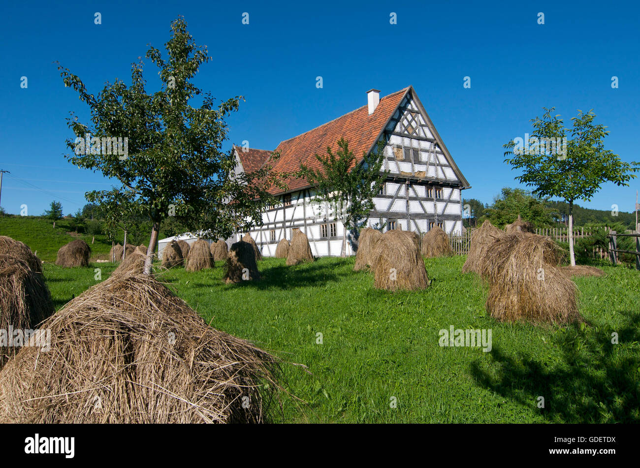 Open Air Museum, Bauernhofmuseum in Illerbeuren, Allgaeu, Bavaria, Germany - Stock Image