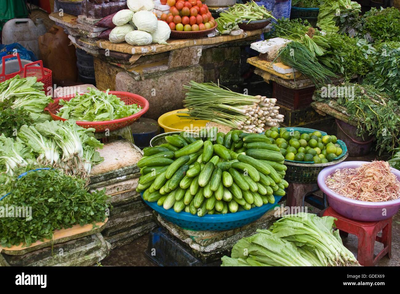 Market, vegetable stall, vegetable sale, Phu Quoc, Vietnam - Stock Image