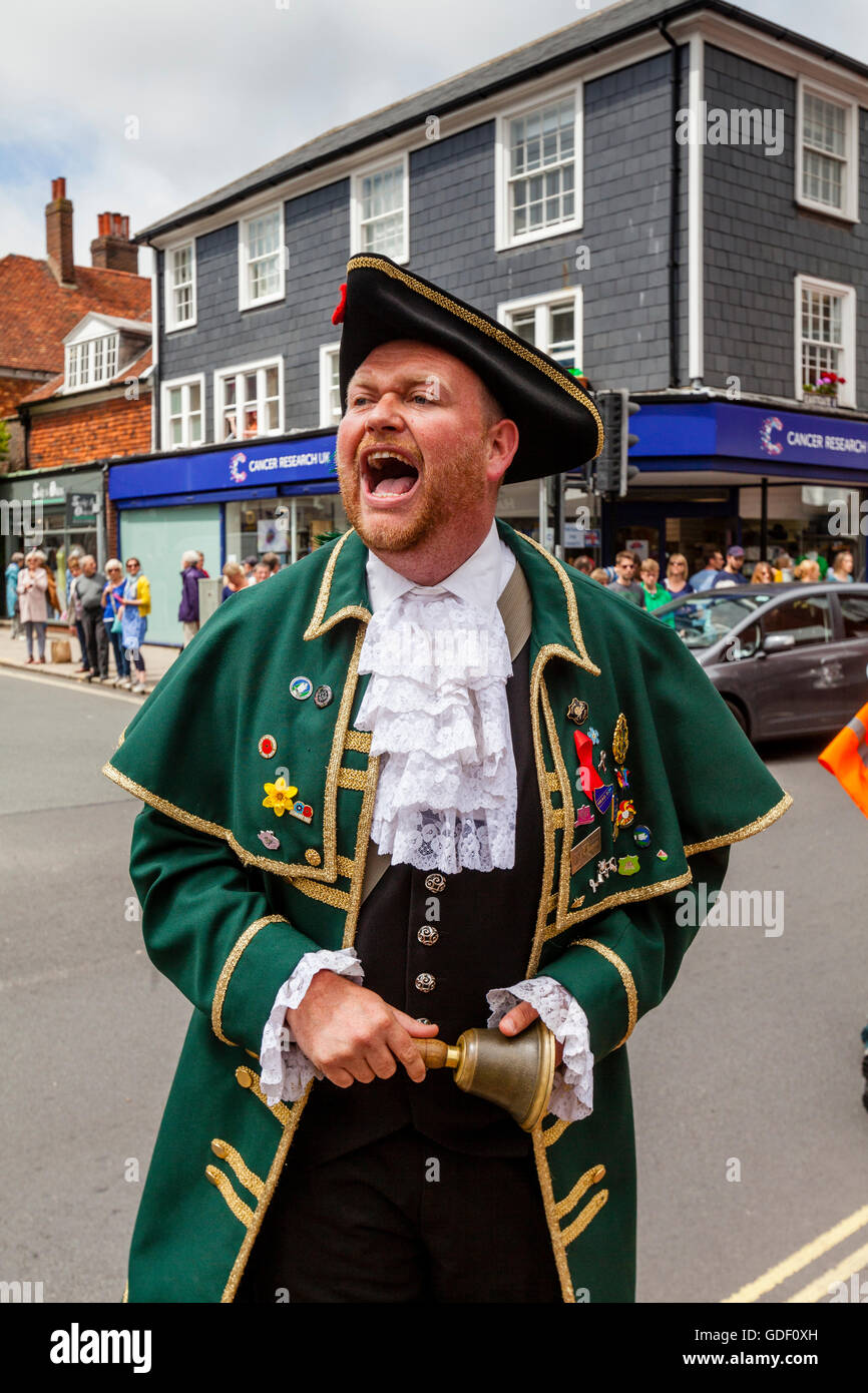 A Traditional Town Crier, Lewes, Sussex, UK - Stock Image