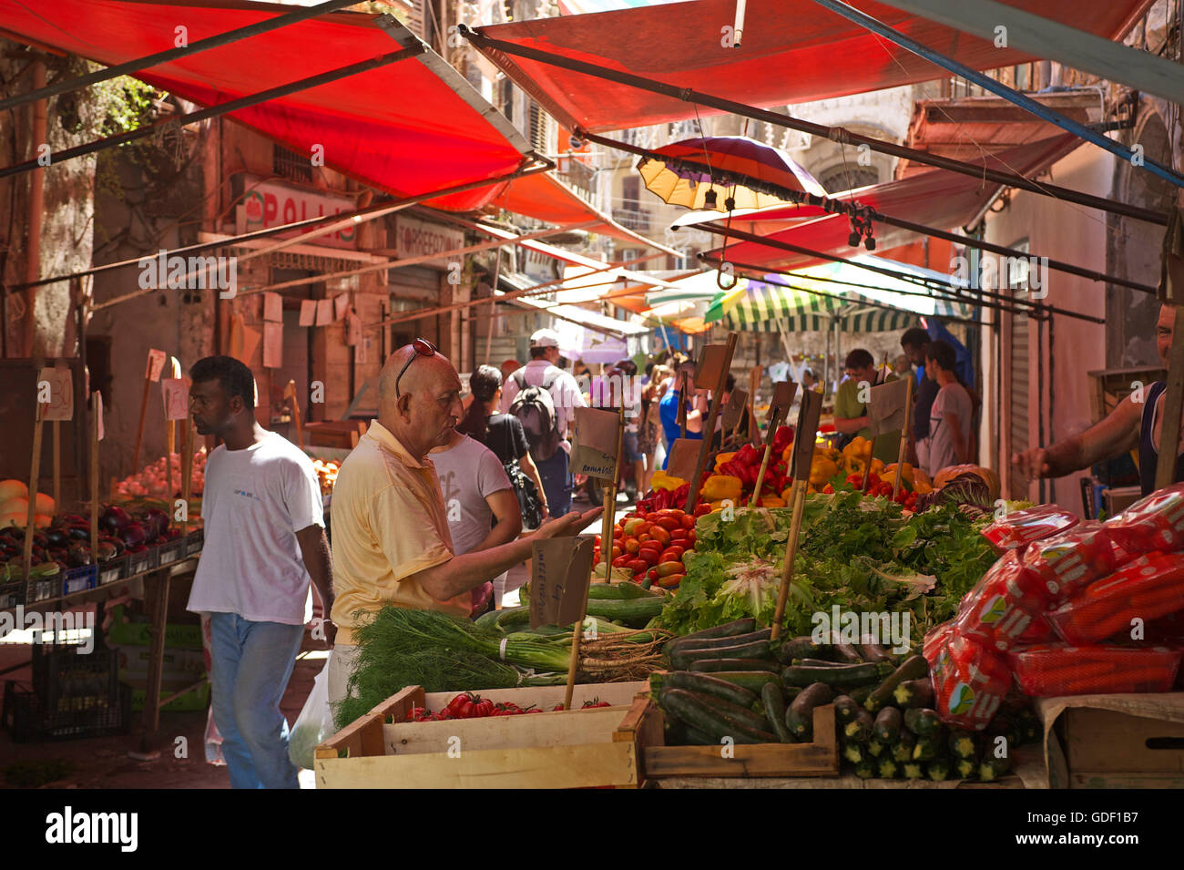 Market in Palermo, Sicily, Italy - Stock Image