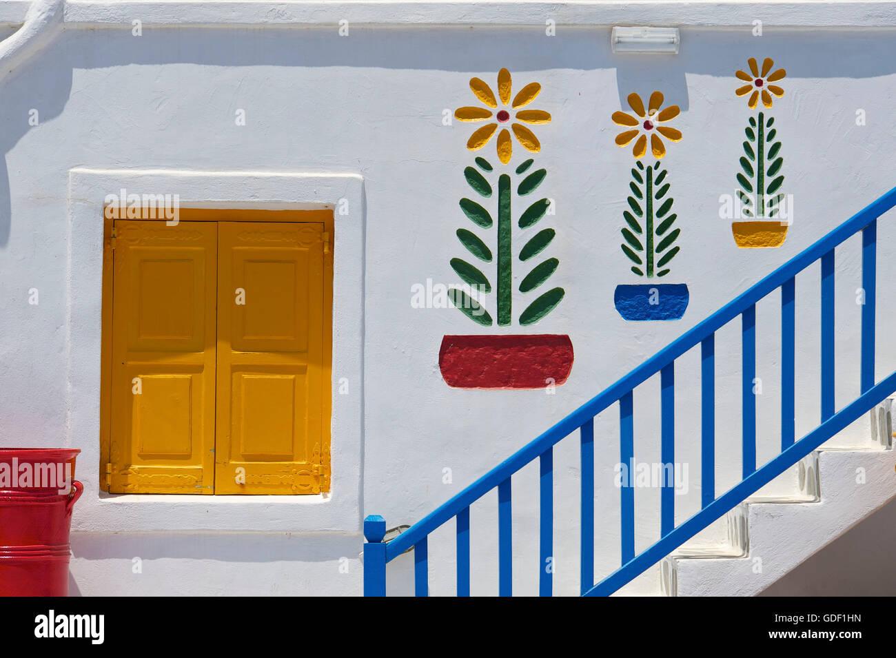 Hotel nearAno Mera, Mykonos, Cyclades, Greece Stock Photo
