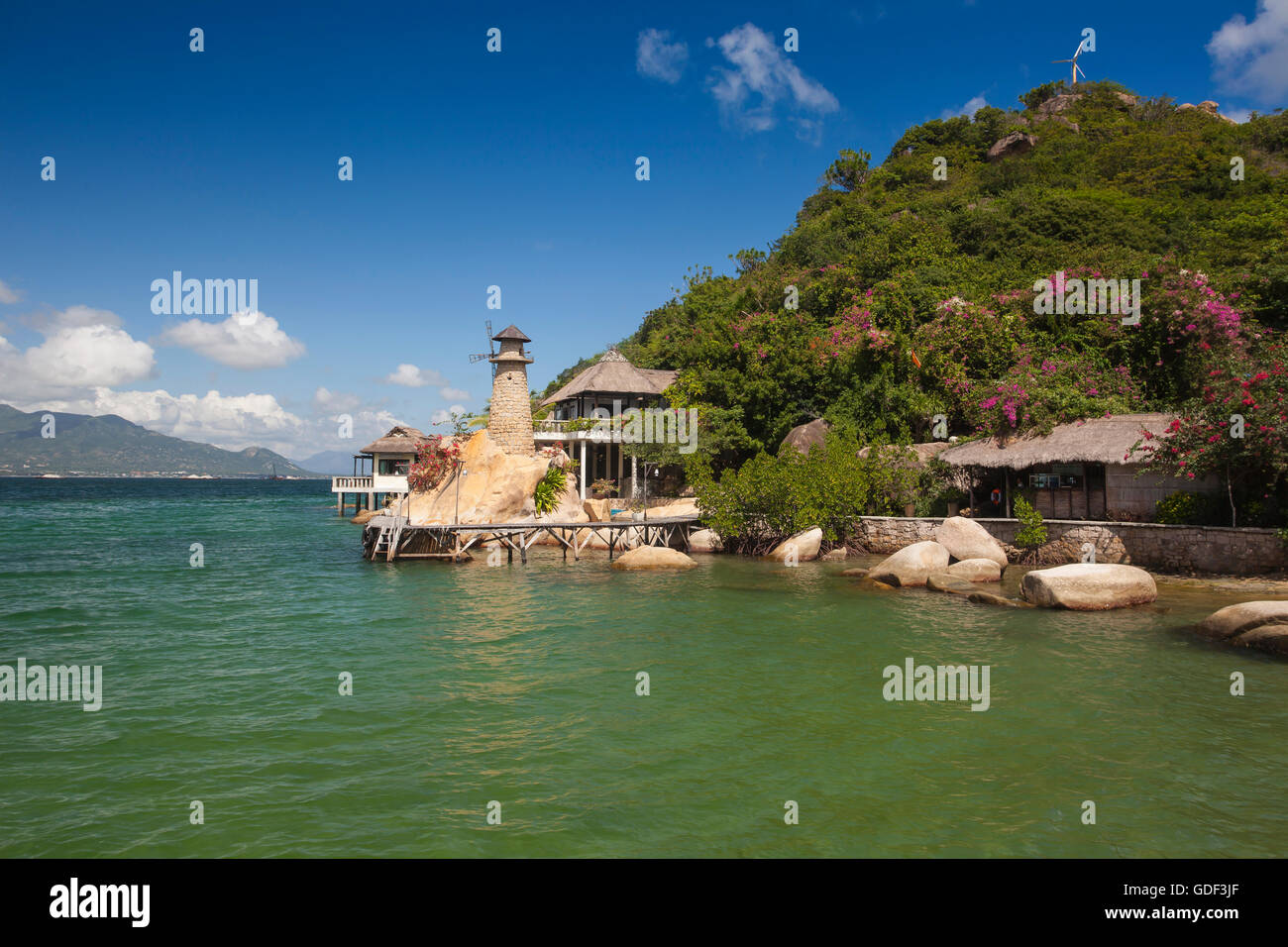 Small bungalow resort Ngoc Suong, in Cam Ranh Bay, Nha Trang, Vietnam Stock Photo