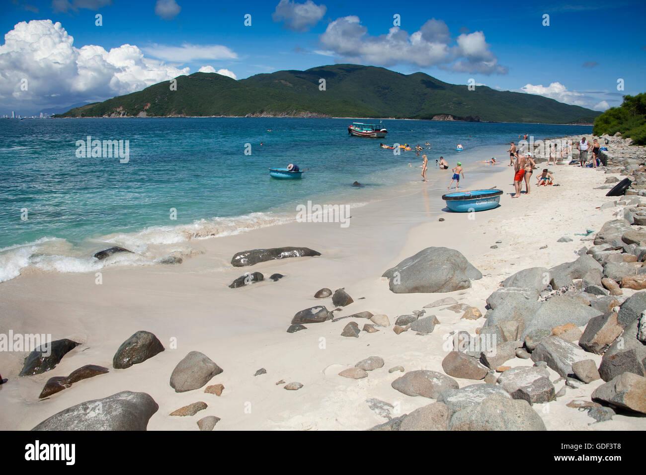 Beach, island of Hon Mun, Nha Trang Bay, South China Sea, Nha Trang, Vietnam - Stock Image