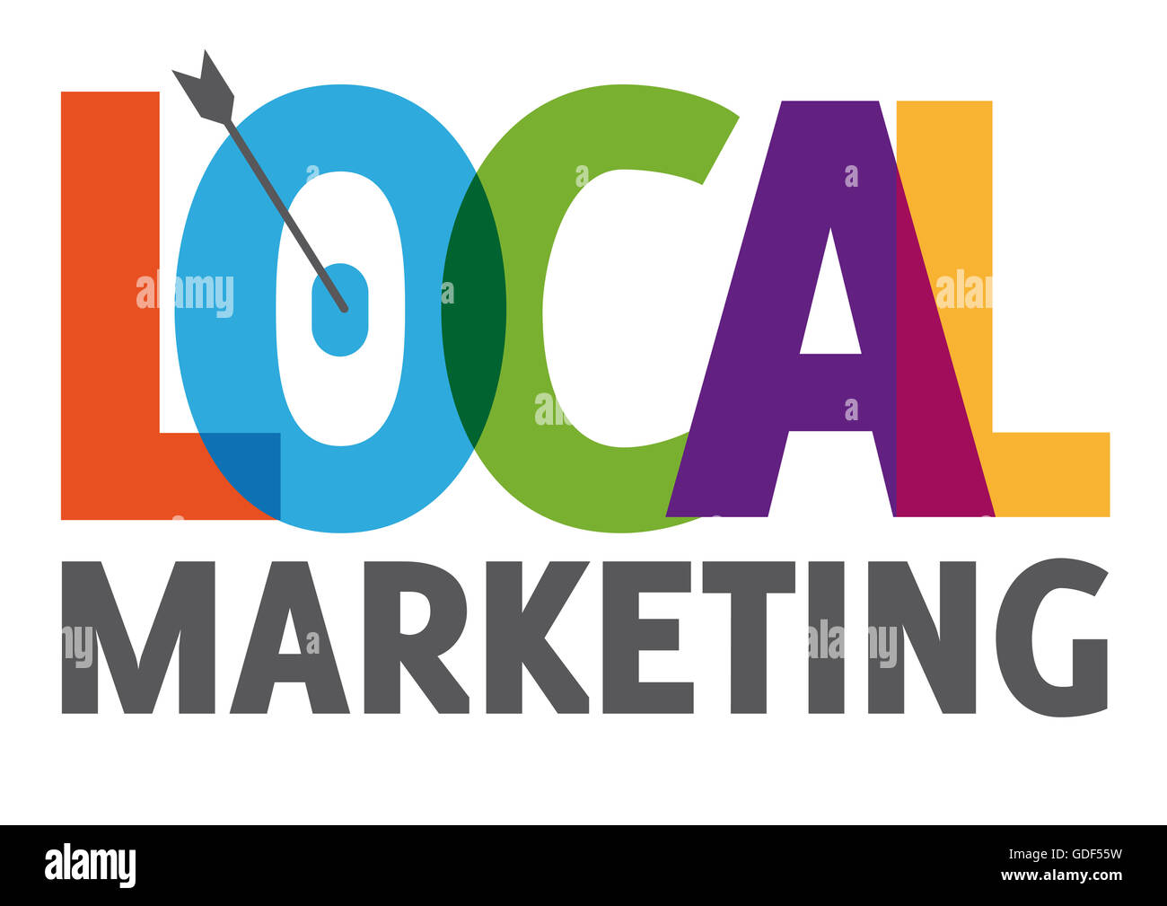 local marketing symbol - colorful letters - Stock Image