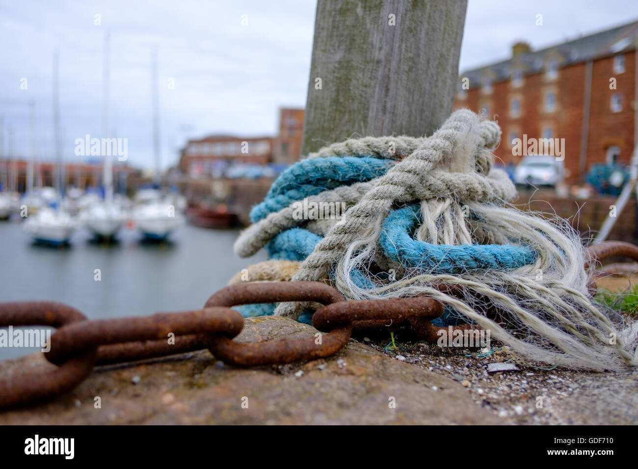 Mooring ropes and chains at the harbour in North Berwick, Scotland. - Stock Image