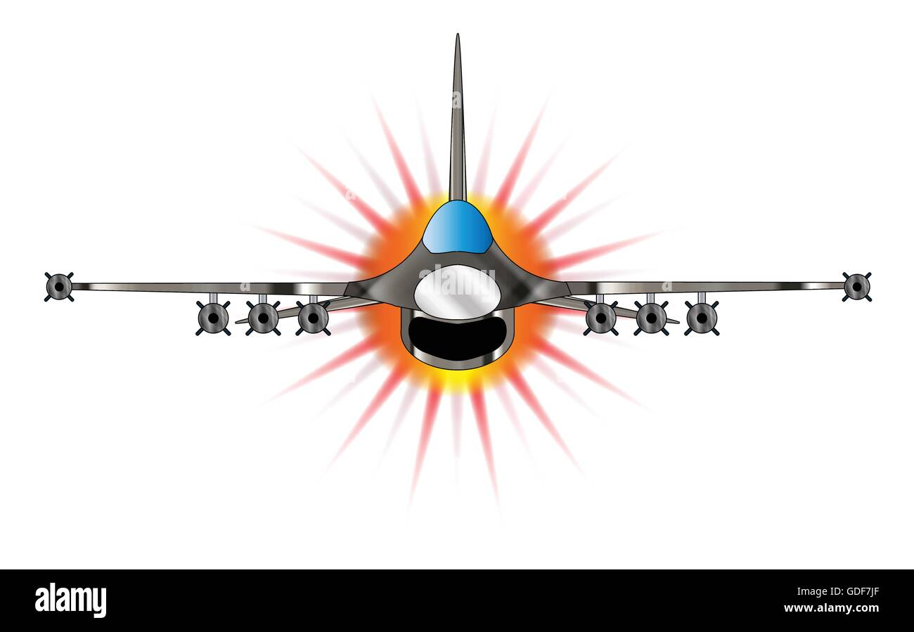 A depiction of a modern jet fighter at full throttle. Stock Vector