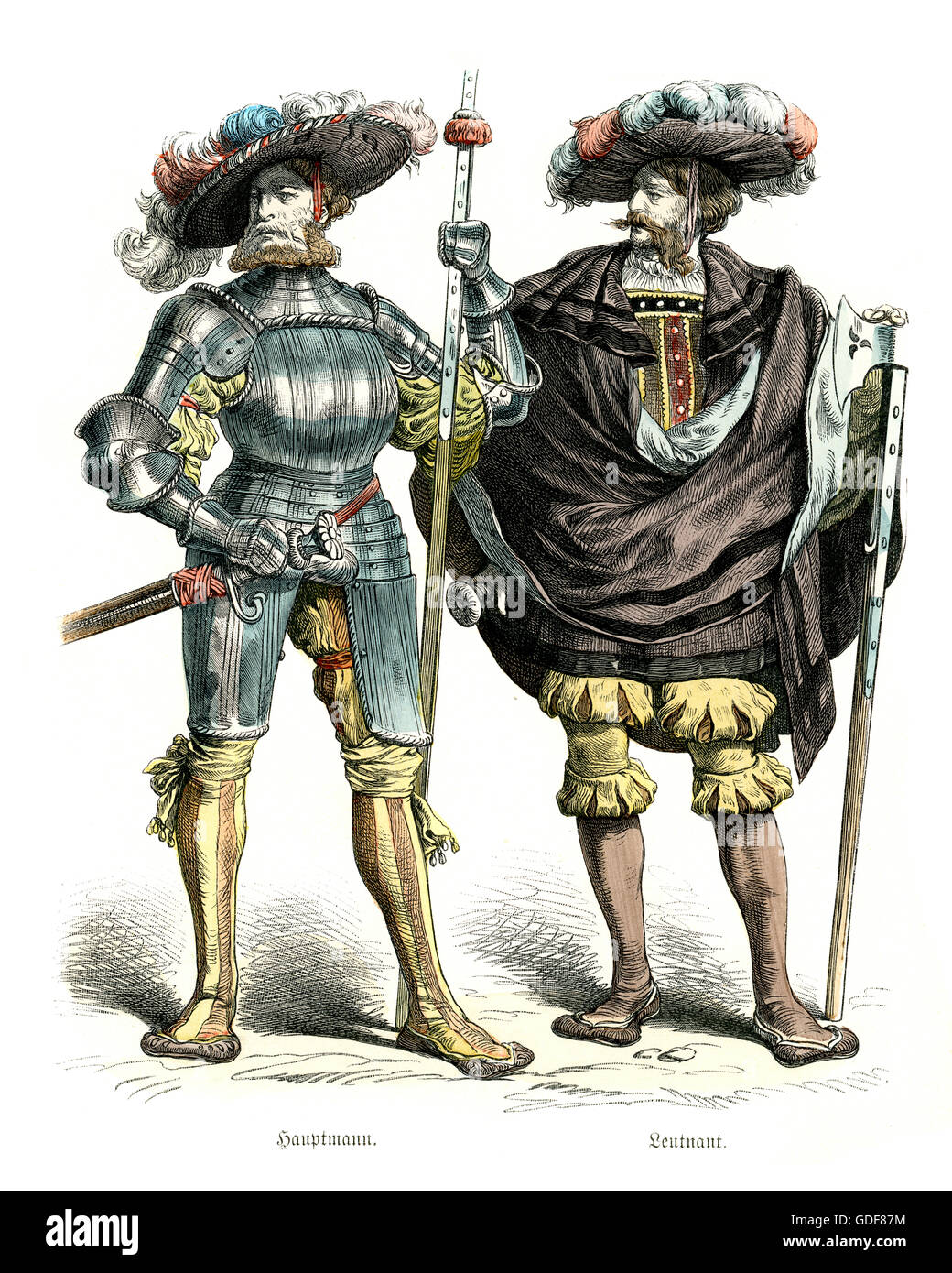 e4c886d33b8b9 Costumes of German Landsknecht Soldiers of the 16th Century. Mercenary  Captain and lieutenant.