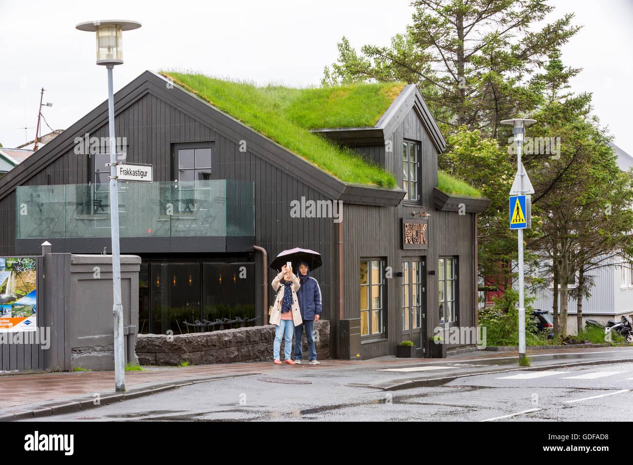 building with sod roof, Frakkastigur Street, Reykjavik, Iceland - Stock Image