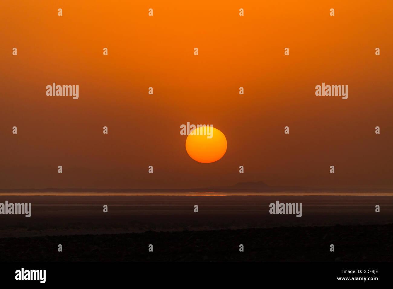 Sunrise over the Lake Assal, near Dallol, Danakil Depression, Afar Triangle, Ethiopia - Stock Image