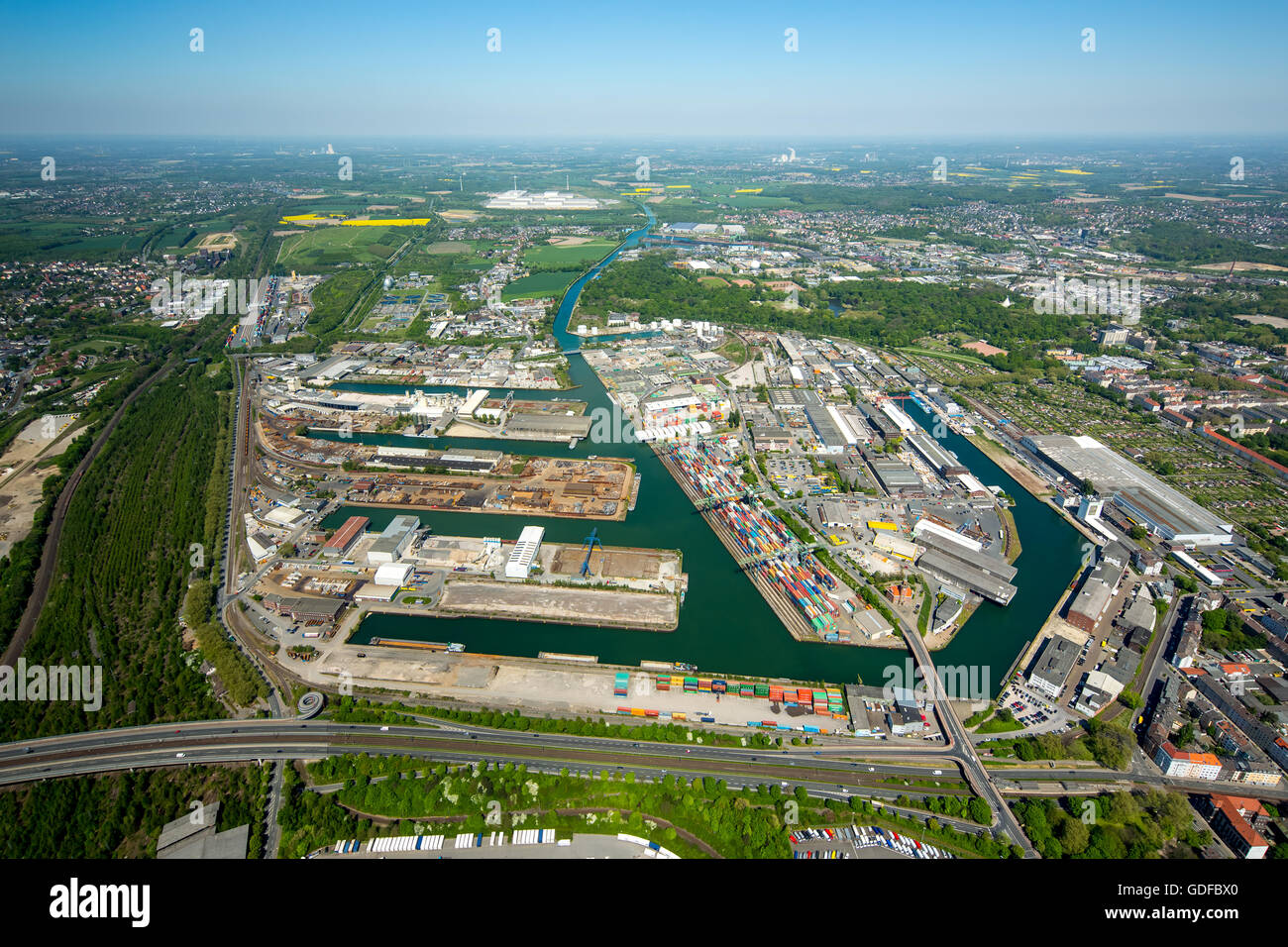 Aerial view, port of Dortmund, inland port, Dortmund-Ems Canal, container port, the Port of Dortmund AG, Dortmund, - Stock Image